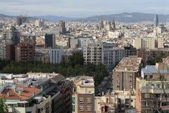Dachy Poblesec, raval i urodzonych neighbourhoods, Barcelona, Hiszpania obrazy royalty free