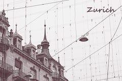 Dachy Zurich, Szwajcaria z drucianym ner w rocznika brzmieniu z notatką Diagona widok na starym budynku z kopii przestrzenią arch fotografia royalty free