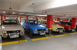 Dacia 1300 cars. 1300 Dacia cars in underground parking at vintage cars parade in Bucharest, Romania stock photography
