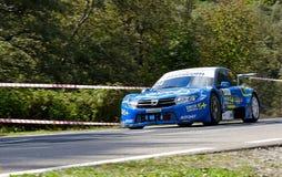 Dacia Logan tuning rally car. Rally car in action on asphalt. Dacia Logan tuning  by Renault Stock Photography