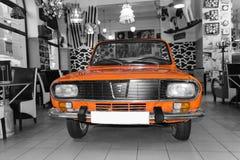 Dacia 1300 retro car. Dacia 1300, vintage retro car exposed in Lactobar Retro Bistro in Oradea, Romania stock image