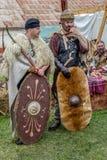 Dacian żołnierze w batalistycznym kostiumu zdjęcia stock