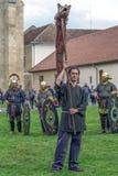 Dacian soldier shows symbol of the dacian army Royalty Free Stock Photos