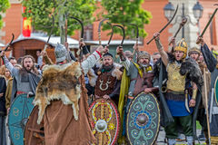 Dacian soldiers in battle costume. ALBA IULIA, ROMANIA - APRIL 29, 2017: Dacian soldiers in battle costume, present at APULUM ROMAN FESTIVAL, organized by the Stock Photography