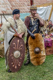 Dacian soldiers in battle costume Stock Photos