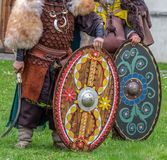 Dacian soldiers in battle costume shows ancient manufacturing we. Dacian soldiers in battle costume, shows ancient manufacturing weapons at APULUM ROMAN FESTIVAL Royalty Free Stock Images