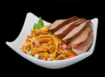 Dack fillet with egg noodles Royalty Free Stock Images