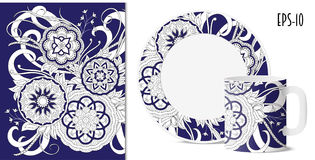 Dack slösar den blom- modellen för zenen med mandalas för disk royaltyfri illustrationer