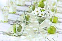 Dacoration van de huwelijkslijst Stock Foto