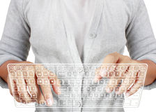 Dactilografia dentro em um teclado virtual Imagens de Stock