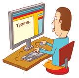 Dactilografia no computador Imagens de Stock
