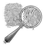 Dactylogram vector. Retro magnifyring lens and dactilogram Stock Images