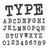 Dactylographiez le calibre de police d'alphabet Ensemble de lettres et de conception de vintage de nombres Illustration Stock