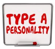 Dactylographiez à une personnalité le résultat sec d'évaluation d'essai de conseil d'effacement Images stock