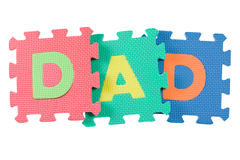 Dad. Alphabet blocks forming the word DAD isolated on white background Stock Image
