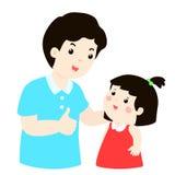 Dad Admire His Daughter Character Cartoon Stock Image