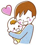 Dad with baby. This is an illustration of a baby and daddy Stock Images