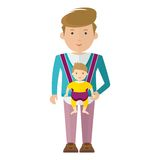 Dad and baby boy. Father and baby boy in sling. Dad and baby flat vector cartoon illustration. Objects isolated on a white background Royalty Free Stock Images