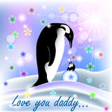 Dad and baby BOY penguin with polar background. And spring flowers Stock Photos