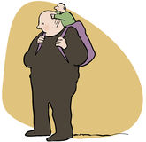 Dad and baby. Cartoon of man carrying sack with pointing toddler Stock Photography