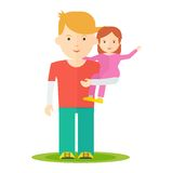 Dad and baby girl. Father and little baby girl in his hands. Dad and baby flat vector cartoon illustration. Objects isolated on a white background Royalty Free Stock Images