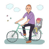 Dad with the baby go by bicycle. The kid in a helmet sits in bike child seat. Travel with children. A lovely illustration on a white background Stock Photo