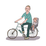 Dad with the baby go by bicycle. The kid in a helmet sits in bike child seat. Travel with children. A lovely illustration on a white background Stock Photos