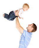 Dad with baby. Happy caucasian dad holding his baby boy. Image is isolated on a white background stock image