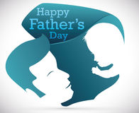 Dad and Baby Silhouette in Special Sign for Father's Day, Vector Illustration Stock Photography