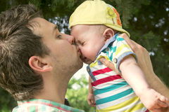 Dad and baby son outdoors Royalty Free Stock Photos