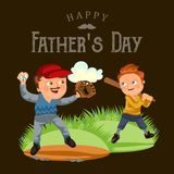 Dad in baseballcap with ball and glove hand playing with son baseball, boy player holding bat that would fight off blow. Family weekend vector illustration Royalty Free Stock Photo
