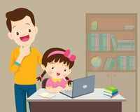 Dad be happy for something of children Girl with laptop. Children working laptop,Dad be happy for something of children Girl with laptop stock illustration