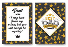 Dad birthday card with words of love. Father happy birthday card set, Best Dad in the world for greeting card or festive poster, banner for dear pap with gold Royalty Free Stock Photo