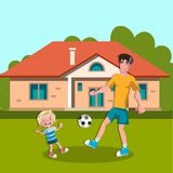 Dad and boy playing soccer Royalty Free Stock Photo
