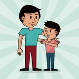Dad and boy together fathers day image. Vector illustration Stock Image