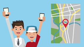 Dad and boy using GPS application HD animation. Dad and boy using GPS application from smartphones High Definition animation colorful scenes stock footage