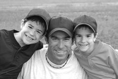Dad and Boys stock image