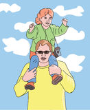 Dad carrying daughter on shoulders - colorful portrait view Stock Photography