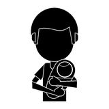 Dad carrying her baby pictogram. Vector illustration eps 10 Stock Photography