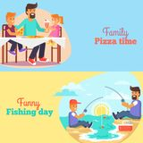 Dad celebrating Father s Day with Children Poster Royalty Free Stock Photos