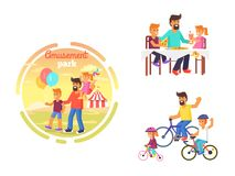 Dad celebrating Father s Day with Children Poster Royalty Free Stock Images