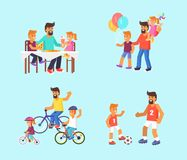 Dad celebrating Father s Day with Children Poster Stock Photos