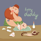 Dad changing diaper baby. Funny dad changing diaper baby. Vector illustration stock illustration