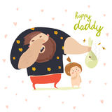 Dad changing diaper baby. Funny dad changing diaper baby. Vector illustration Royalty Free Stock Photos