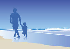 Dad and child on beach. A vector illustration of a dad and his child walking on the beach Stock Image