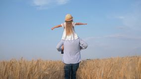 Dad and child girl play outdoors, happy father carries little daughter in straw hat and white dress on his shoulders stock video footage