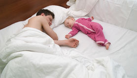 Dad and child are sleep Stock Photo