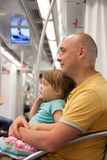 Dad and child  in  subway Stock Image
