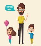 Dad and children character. Cartoon vector illustration stock illustration