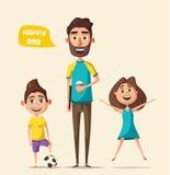 Dad and children character. Cartoon vector illustration royalty free illustration